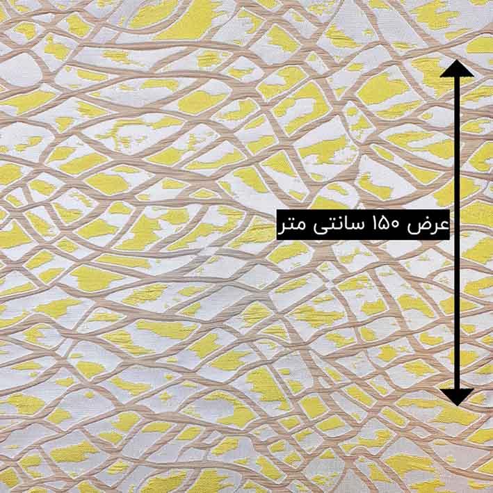 پارچه ژاکارد ویسکوز آتشگون رنگ هلویی زرد