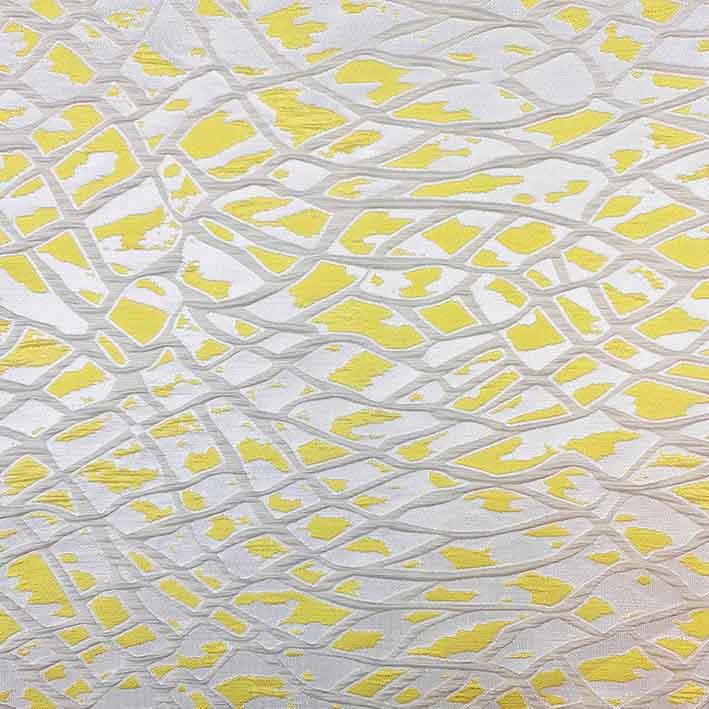 پارچه ژاکارد ویسکوز آتشگون رنگ طوسی زرد