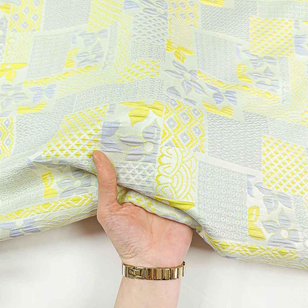 پارچه ژاکارد ویسکوز چکاوک رنگ طوسی زرد