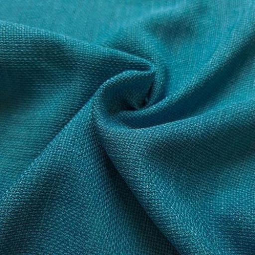 پارچه شانتون کنفی بافت رنگ سبز آبی