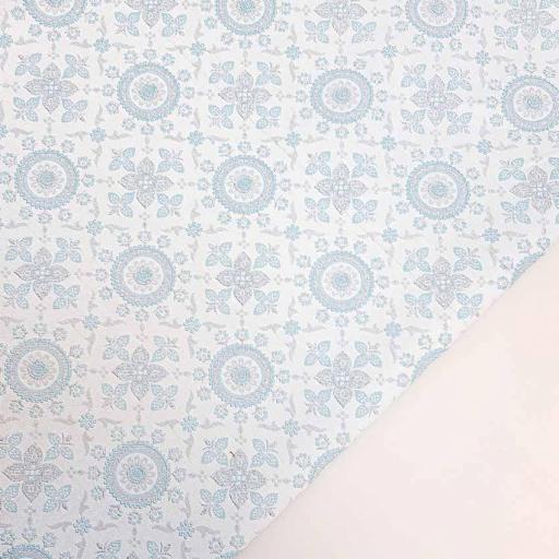 ژاکارد سیملی هندسی رنگ آبی آسمانی