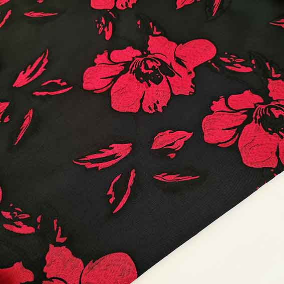 پارچه ژاکارد تافته مرسده رنگ قرمز