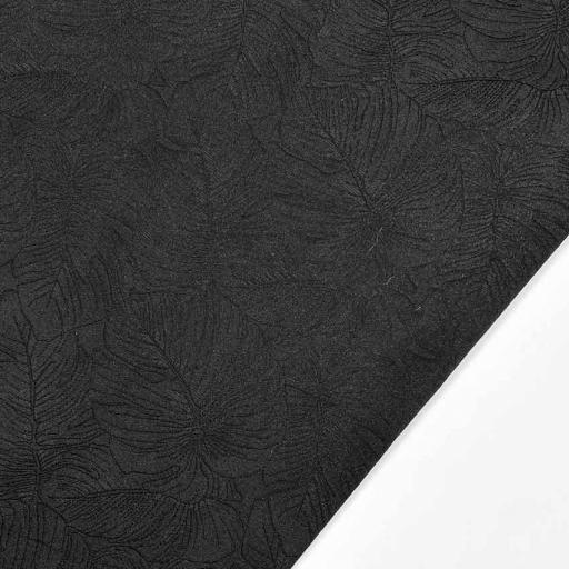 پارچه ژاکارد تافته برگ انجیری رنگ مشکی