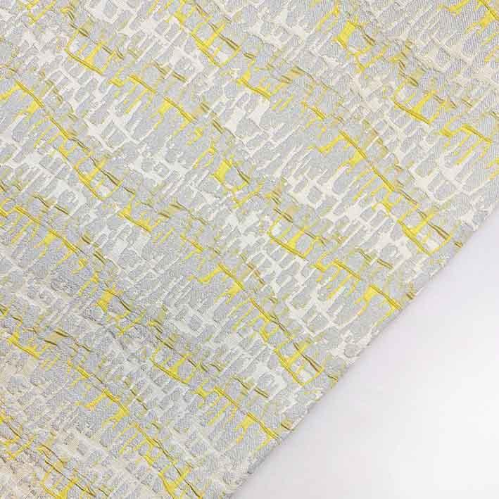 پارچه ژاکارد ویسکوز آرتیستون رنگ طوسی زرد