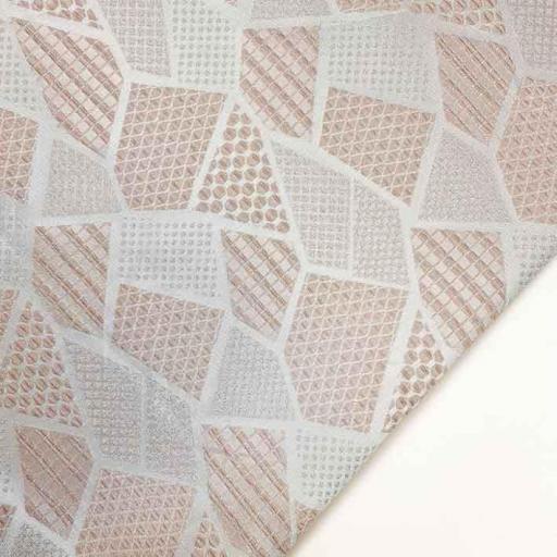 پارچه ژاکارد ویسکوز آندیا رنگ گلبهی نقره ای