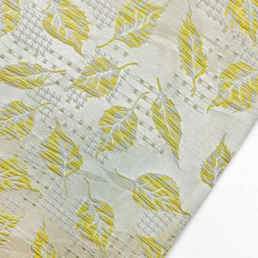 پارچه ژاکارد ویسکوز پالیز رنگ زرد طوسی