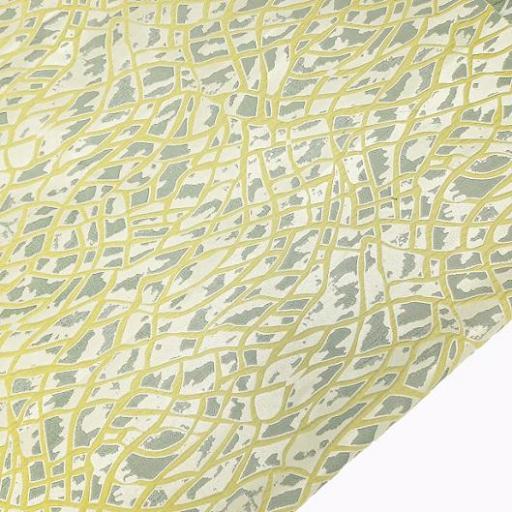پارچه ژاکارد ویسکوز آتشگون رنگ لیمویی طوسی